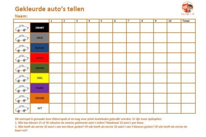 Tellen, tellen en tellen: auto's in alle kleuren van de regenboog. Autospelletje voor op vakantie met kinderen. Gemaakt door http://www.kidseropuit.nl