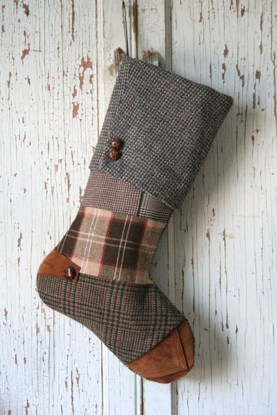 Wool Tweed Christmas Stocking Recycled Patchwork by SmokinTweed