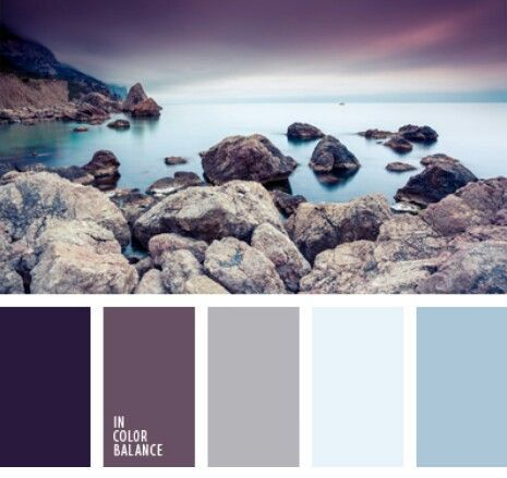 Soft, soothing color scheme with hints of blue, gray, purple