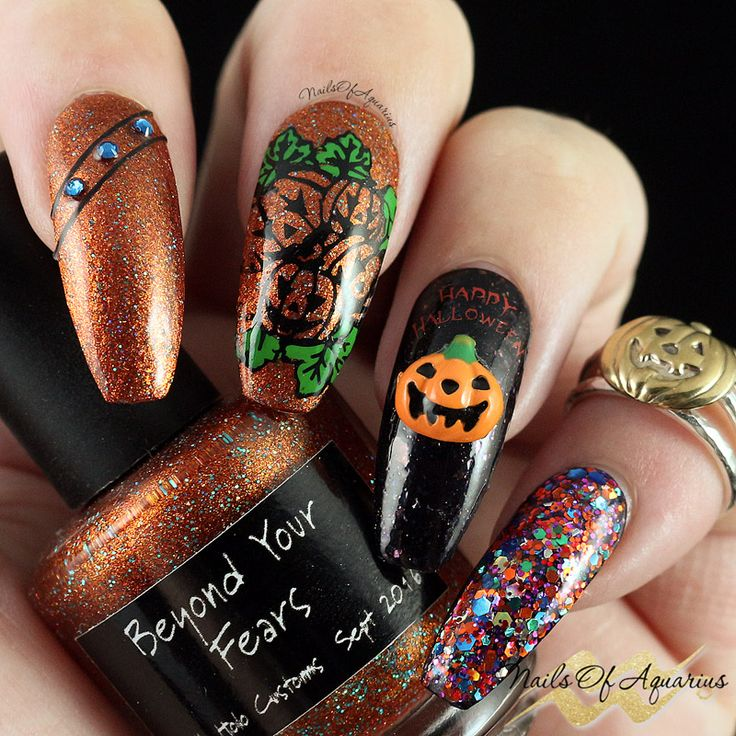 Candied Pumpkins Anyone? Halloween Nail Art | Coffin shape ...