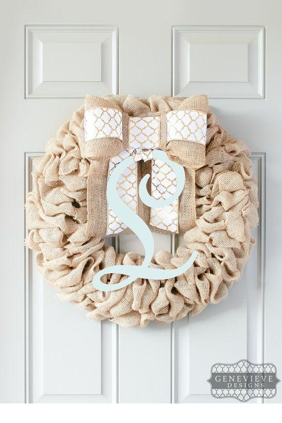 Winter Wreath, Front Door Decor, Burlap Door Hanger, Front Door Initial, Monogram Burlap Wreath, Interchangeable Bow