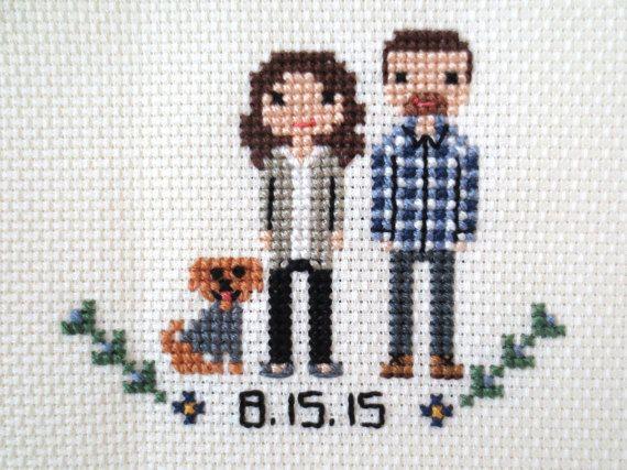 Custom Cross Stitch Family Portrait by WildwoodStitchCo
