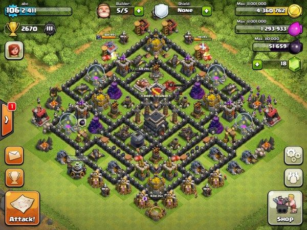 Coc Th 9 Best Defence Base 9