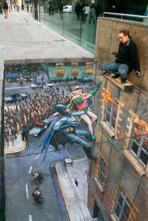 Batman and Robin 3D sidewalk painting