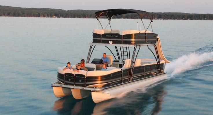Catamaran pontoon boat / outboard / double terrace deck SKY DEK 310 Premier Pontoons