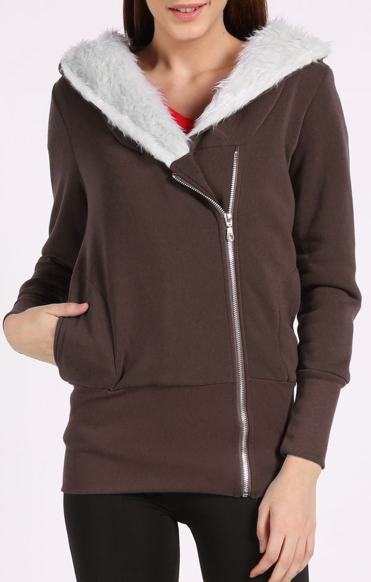 The Real Thing Faux Fur Lined Hoodie - Brown