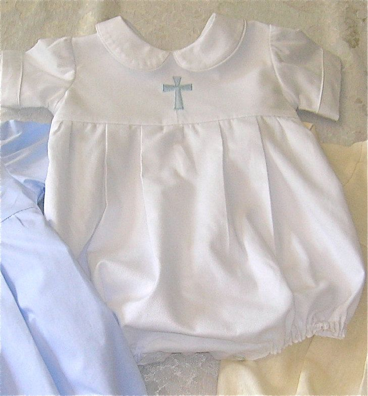 Boys+Christening+Bubble+Romper+White+Pique+with+by+GumdropGrove,+$57.50