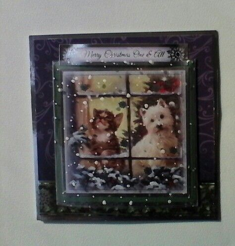 Hunkydory Christmas card with snow acetate over window.