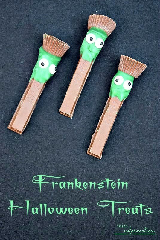 These fun Frankenstein Halloween Treats are easy to make with Reeses peanut butter cups and Kit Kat's kids love them