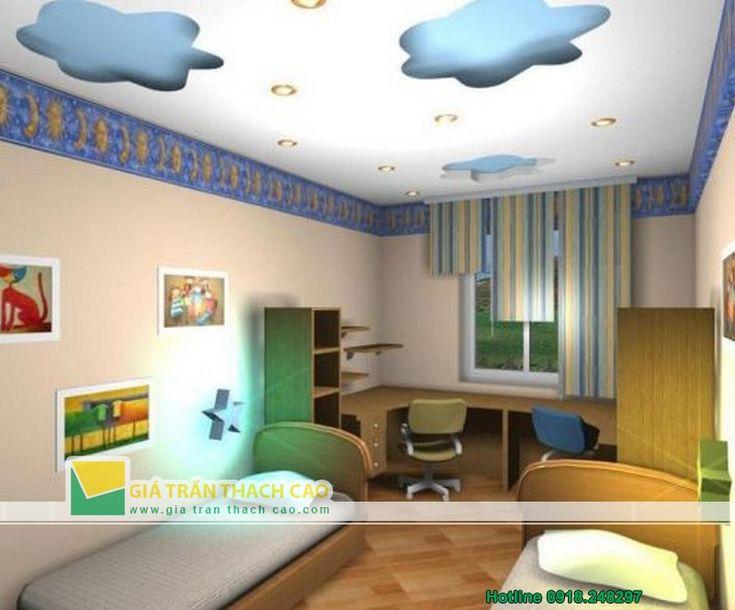 Thiết kế trần thạch cao cho phòng ngủ trẻ em 04