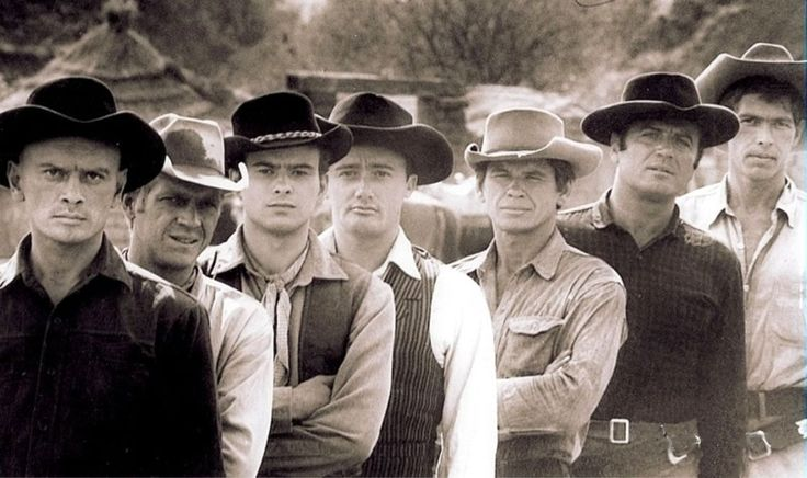 THE MAGNIFICENT SEVEN (1960) - Yul Brynner, Steve McQueen, Charles Bronson, Horst Buchholz, James Coburn, Robert Vaughn & Brad Dexter - Directed by John Sturges - United Artists - Publicity Still.