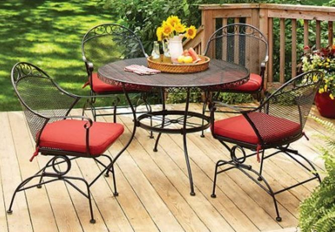 Patio Furniture Dining Set 5 Piece Wrought Iron Cushions Deck Pool Porch Outdoor #BetterHomesandGardens