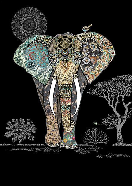 Decorative Elephant - designed by Jane Crowther for Bug Art greeting cards. Embossed with delicate gold and blue foil.