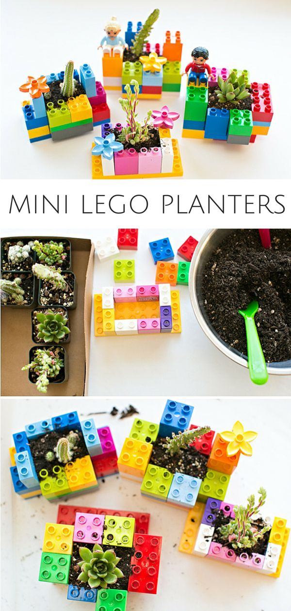 Mini DIY LEGO Planters: Fun Planting and Gardening Project for Kids. Let the kids practice their building and engineering skills to make these cute planters!