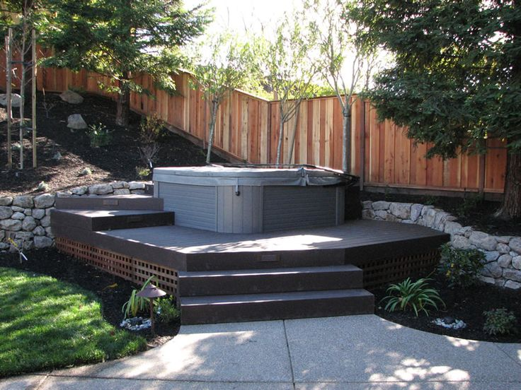 Hot Tub Design Ideas note location of hot tub open concept pergola have a privacy regarding deck and hot tub Landscaping A Hot Tub Google Search