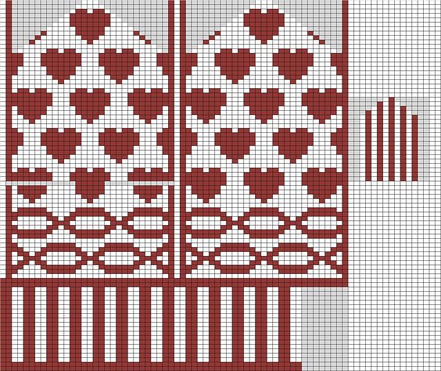 hearts mitten pattern