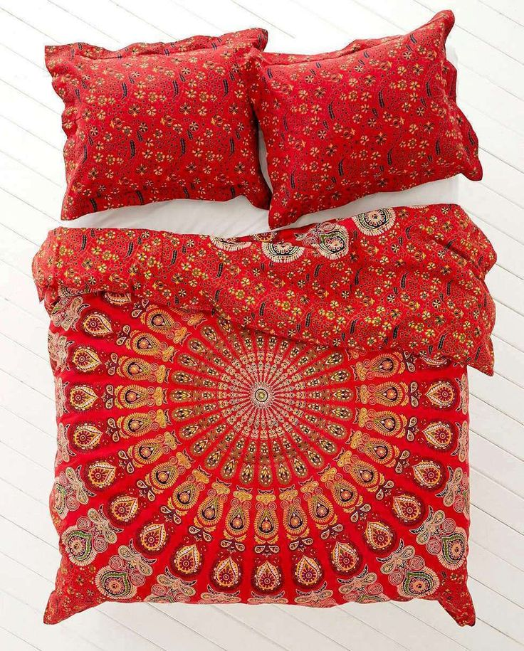 Bohemian Red Life Flower Indian Queen Size Duvet Bedding 3 Piece Set Mandala Boho Hippie Bedspreads Tapestry and 2 Pillow Cases
