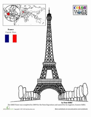 The Giraffe That Walked to Paris - Eiffel Tower Coloring Page