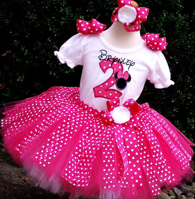 A personal favorite from my Etsy shop https://www.etsy.com/listing/233943990/minnie-mouse-tutu-sethot-pink-polka