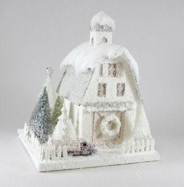 Ivory Country Barn | Cody Foster | Christmas Village Putz Houses - TheHolidayBarn.com