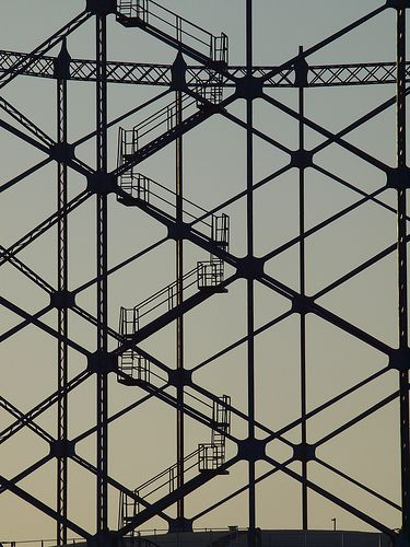 Gasometer frame from on the Strand Pier road Gillingham in the late afternoon light