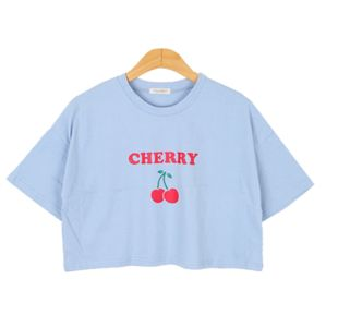 ulzzang Korea purchasing official website authentic College Wind cute cherry printing short paragraph short-sleeved T-shirt bullang