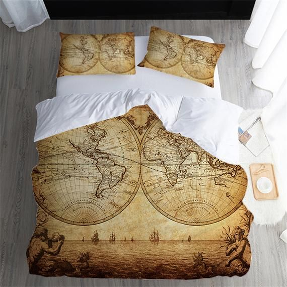 Retro World Map Duvet Cover Yellow Quilt Cover Set Atlantic Etsy Duvet Bedding Sets Duvet Bedding Comforter Cover