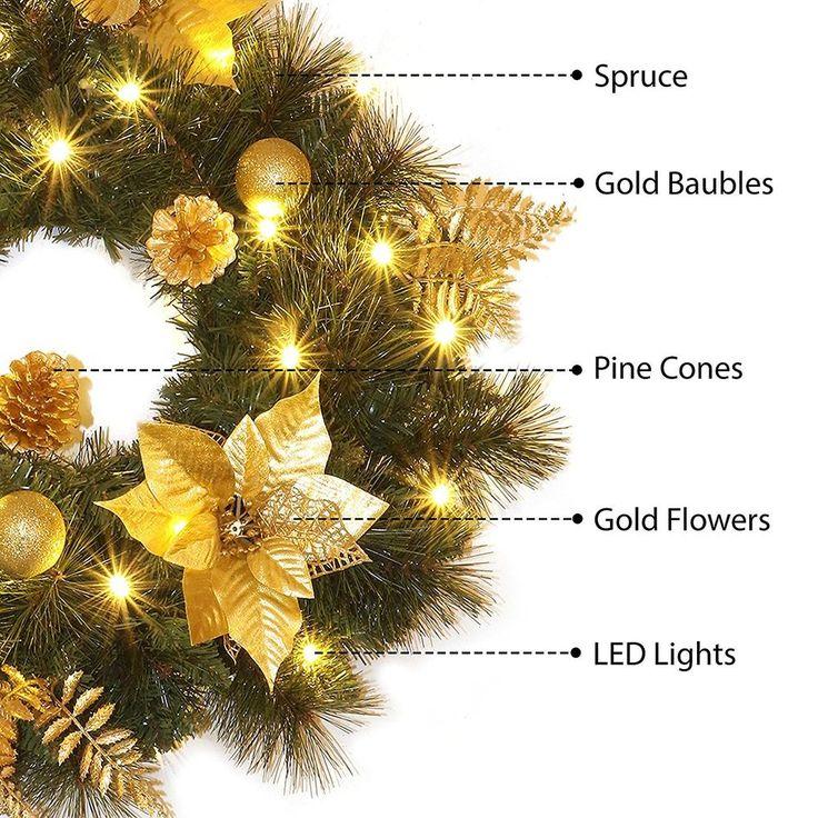 LED Lights Christmas Decorated Door Wreath 60cm Holiday Decor Pine Cones Berries #SmartDealsMarket
