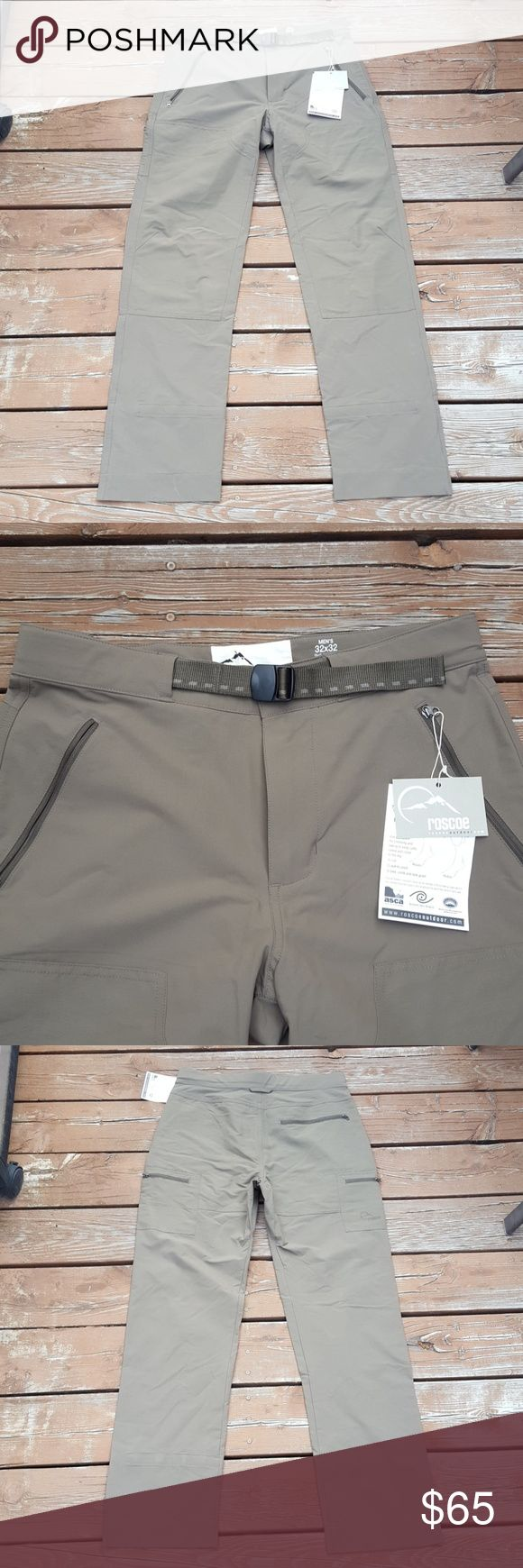 Men's Roscoe Washakie Hiking Pants Men's Hiking Pants  Roscoe Washakie  Size 32x32 Brand New 2 Front Zipper Pockets 1 Side Zipper Pocket 1 Butt Zipper Pocket Reinforced Fabric on Knees & Thighs Adjustable Waist Band Color- Light Khaki Olive Inside Leg Straps for adjusting pant length UPF 50+ Roscoe Pants