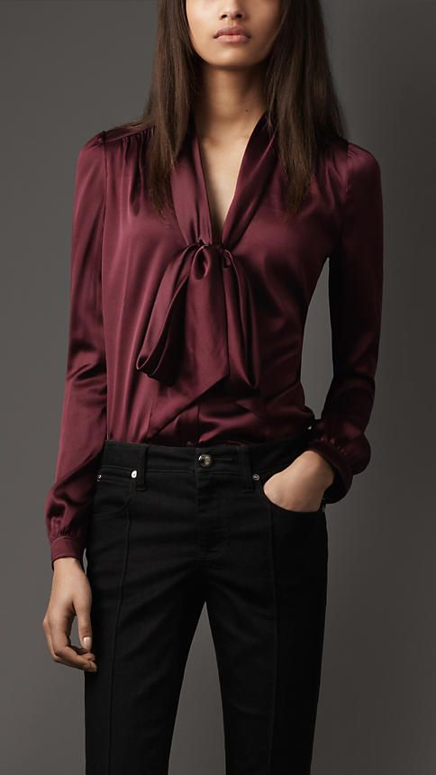 Burberry - STRETCH SILK BOW TOP