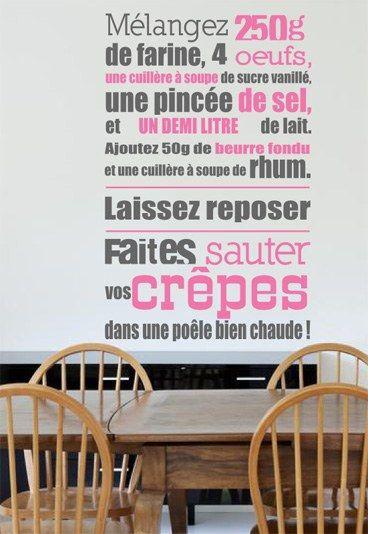 Sticker recette cr pes sticker recette cr pes de - Stickers pour meuble de cuisine ...