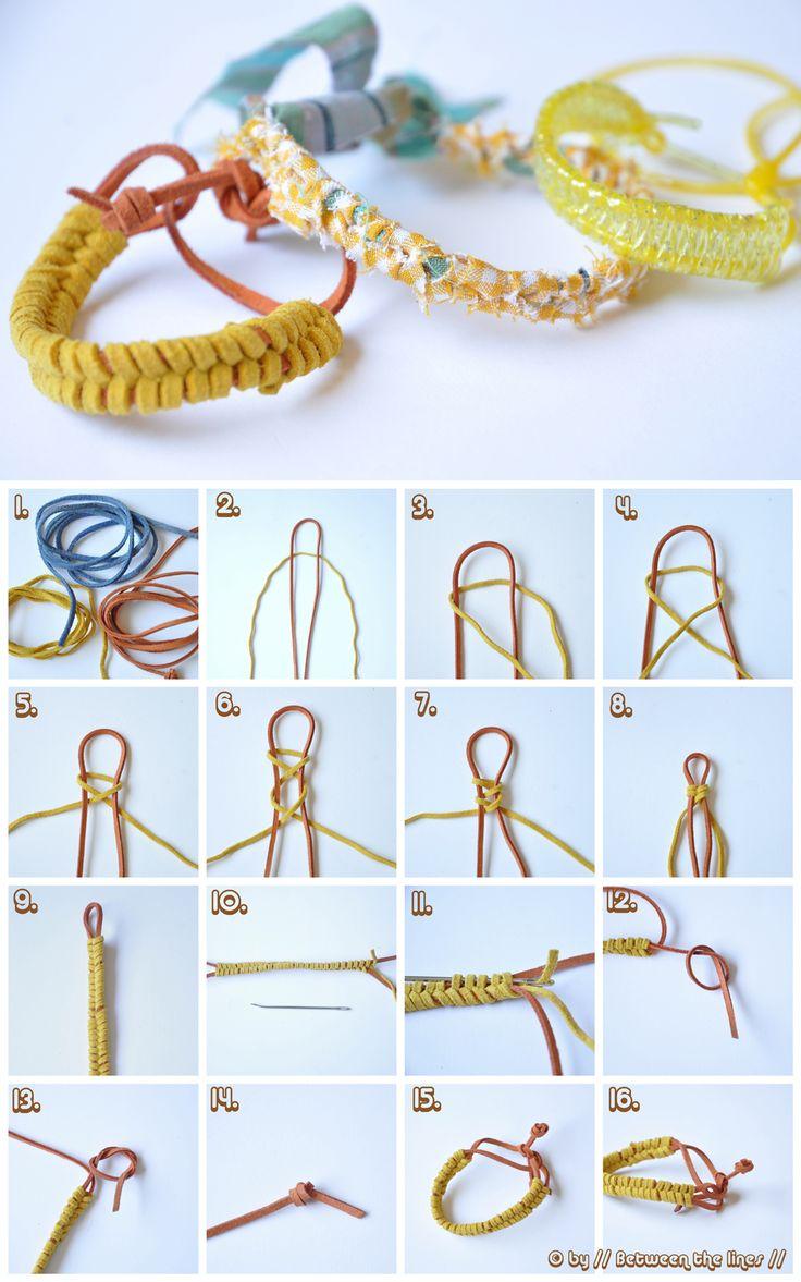 More bracelets!: Crafts Ideas, Diy Crafts, Fabrics Scrap, Easy Leather, Braids Leather Bracelets, Hairstyles Tutorials, Braids Bracelets, Diy Jewelry, Diy Bracelets