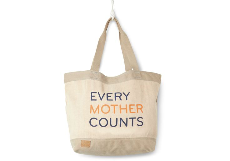 Light Grey Every Mother Counts Tote Bag. Every Mother Counts is a nonprofit focused on addressing the three critical barriers to maternal health care: lack of transportation, education and supplies.