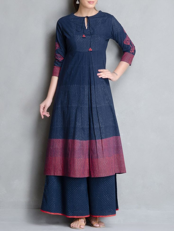 Buy Indigo Red Block Printed Pleated & Tie Up Detailed Cotton Kurta Apparel…