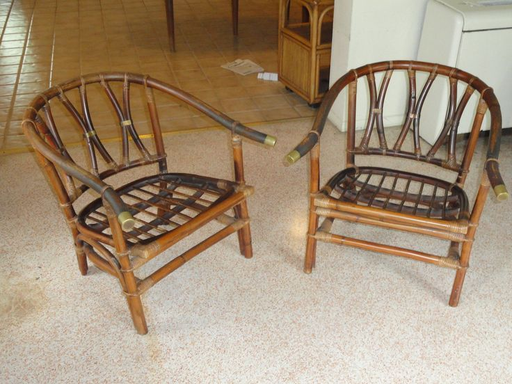 Elegant 2 Pcs RARE 60u0027s Ficks Reed Rattan Horseshoe Back Club Arm Chair W Brass  Fitting  