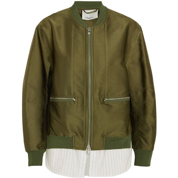 3.1 Phillip Lim Satin and striped poplin bomber jacket ($850) ❤ liked on Polyvore featuring outerwear, jackets, army green, striped jacket, military green bomber jacket, brown jacket, brown bomber jacket and zipper jacket