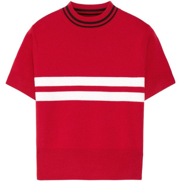 Tim Coppens Striped merino wool sweater found on Polyvore featuring tops, sweaters, t-shirts, red, red striped sweater, striped crop top, red stripe top, red sweater and stripe top