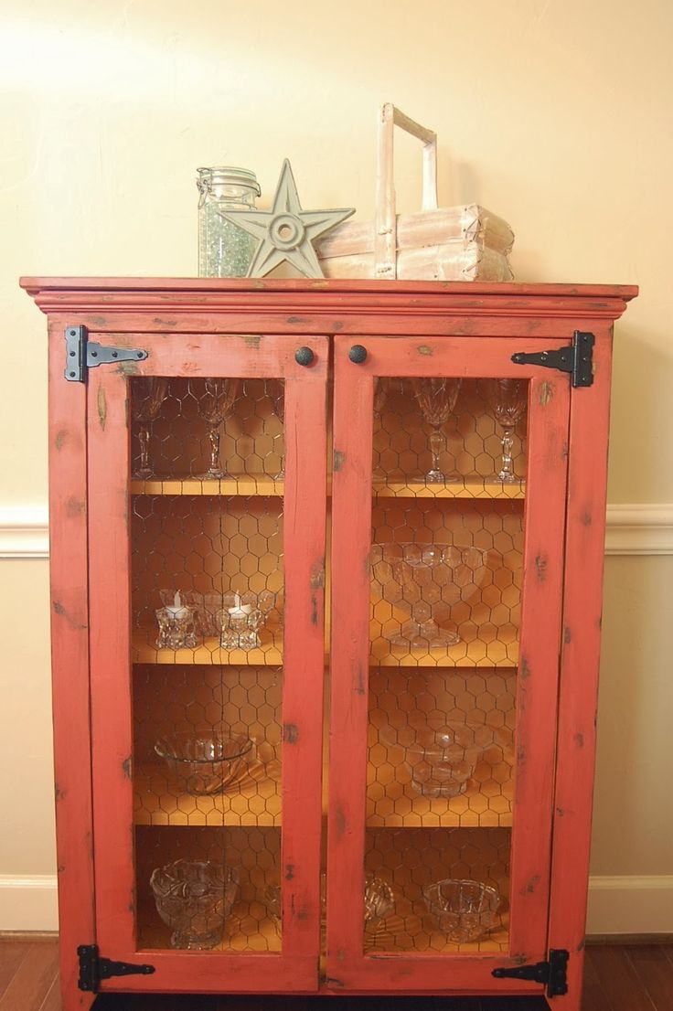 Diy distressed dining hutch plans pie safe jelly for Jelly cabinet plans