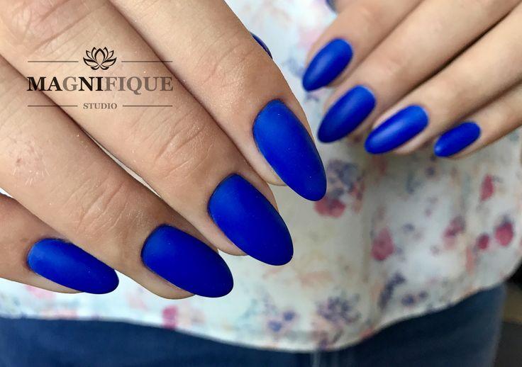 Neon Blue matt Nails