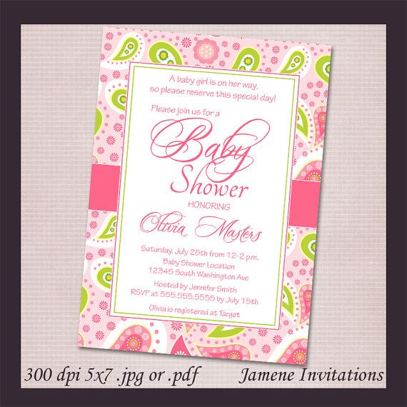 Girls Pink and Green Paisley Baby Shower Digital Download Invitation - Print your own