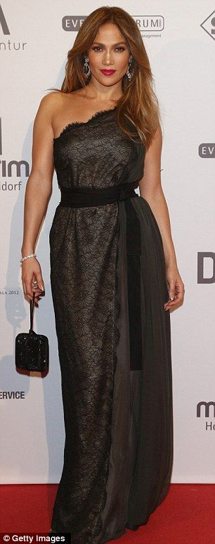 Dressed to impress: Sultry #JenniferLopez in a black lace #Valentino #gown at the 21st UNESCO Charity Gala in Dusseldorf, Germany.