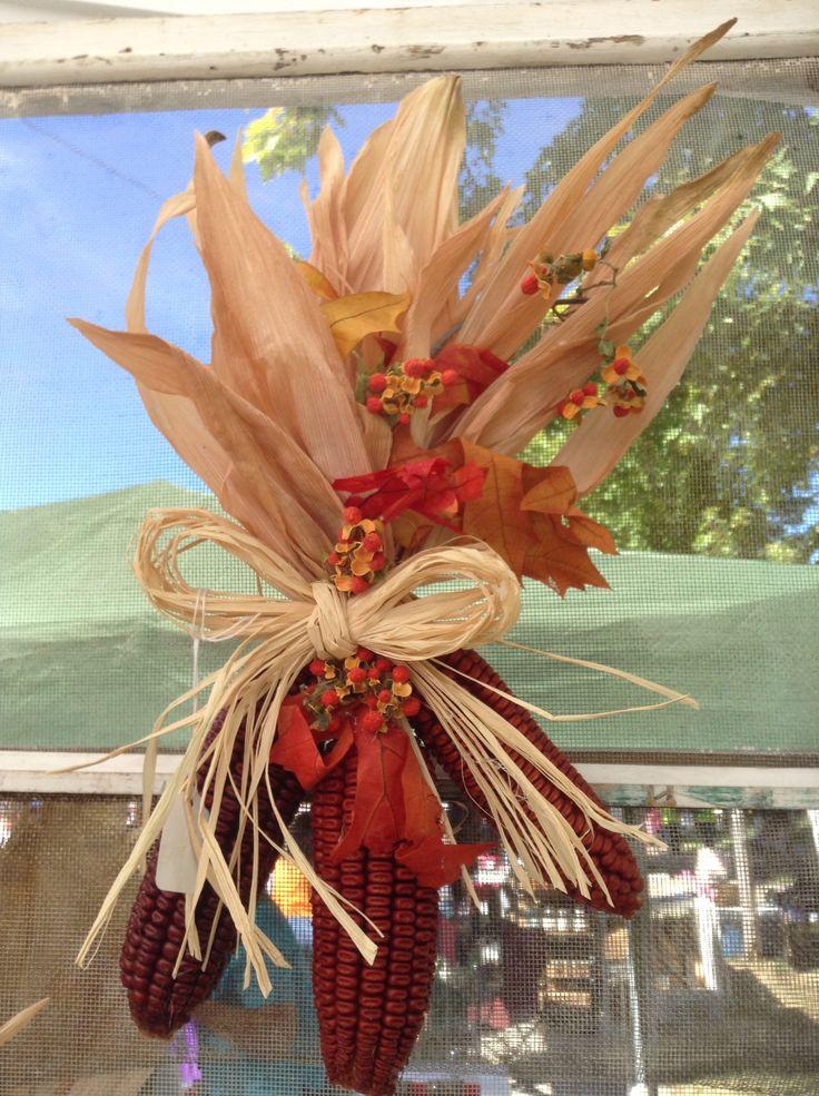 Fall corn front door wreath with bittersweet