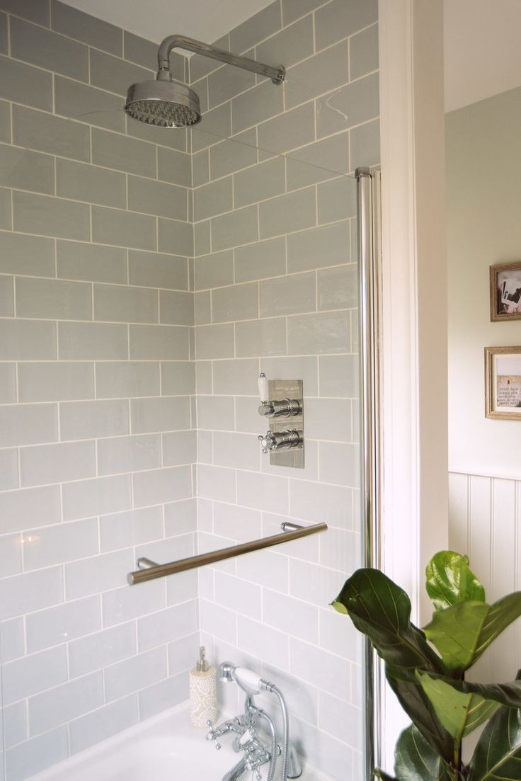 Need Small Space Shower Ideas We Created This Shower Bath Space With Blue Tiles Bathroom Makeover Bathroom Ideas Uk Tranquil Bathroom