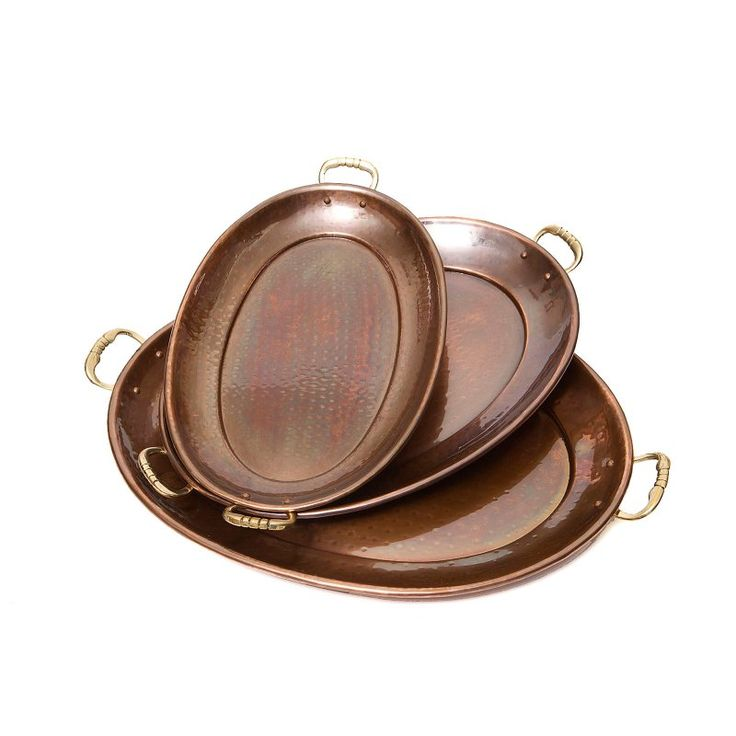 Old Dutch Oval Decor Copper Tray - Set of 3 Antique Copper - 254