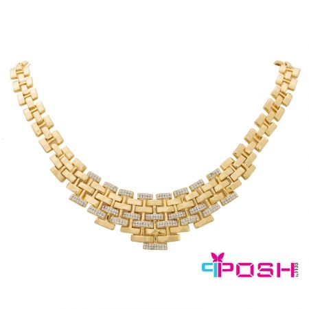 - Fashion Necklace - Gold tone bib style - Encrusted with clear stones - Box clasp closure - Dimensions: 48 cm circumference, 10 cm bib width
