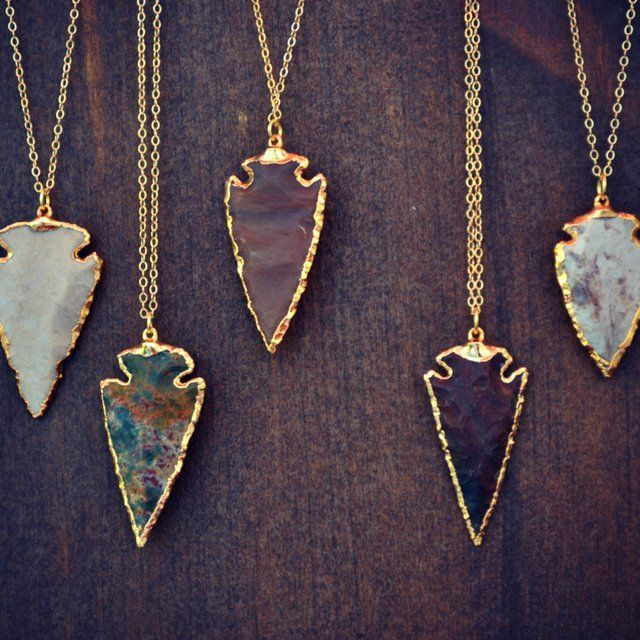 XMAS In JULY SALE Arrows /// Electroformed Gemstone Arrowhead /// Gold