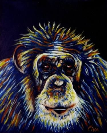 "Saatchi Art Artist Dan Civa; Painting, ""Chimpanzee portrait (chimp 12)"" #art"