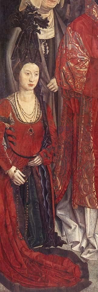 15th century (1460-1469) Portugal attributed to Nuno Gonçalves - The Saint Vincent Panels panel of the Prince, detail: Isabel de Avis (Isabella of Combria), Queen of Portugal, wife to Afonso V of Portugal