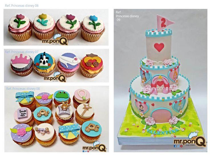 Torta y cupcakes princesas disney, torta castillo princesas disney