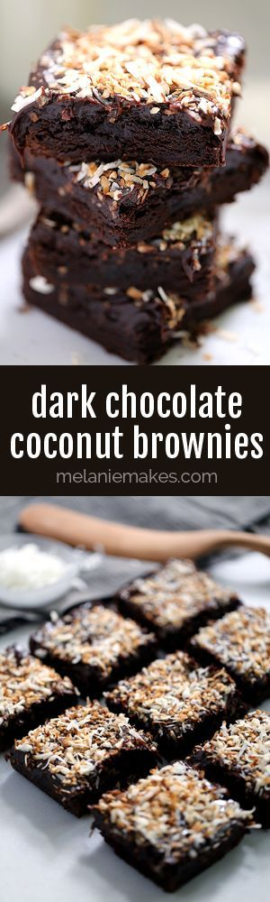 These one bowl chewy, Dark Chocolate Coconut Brownies are the perfect ...